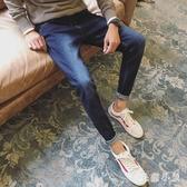 春季新款褲子男牛仔褲大碼刷破休閒寬鬆直筒長褲韓版潮流修身小腳男士LXY7171『毛菇小象』