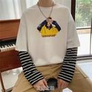 潮流寬松長袖T恤男港風春季假兩件圓領衛衣學生ins百搭條紋上衣服 快速出貨