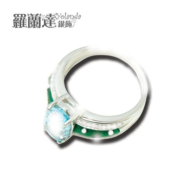戒指925純銀 。天然拓帕石。白鋯石與綠琺瑯。【羅蘭達銀飾】。貴氣優雅。