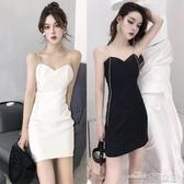 當當衣閣-夏裝新款泰國潮牌名媛性感 水晶鉆鏈條吊帶修身露背短裙連衣裙
