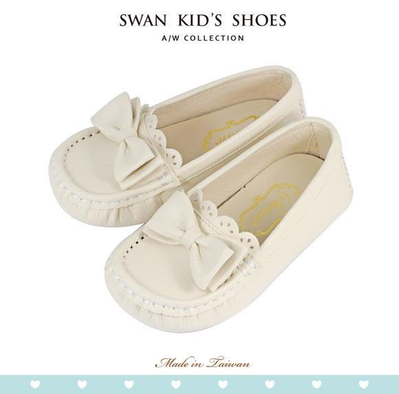 Swan天鵝童鞋-可愛蝴蝶結豆豆鞋 3766-米