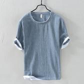 夏季日系潮流休閒亞麻布男裝5分半袖棉麻料上衣服男士短袖t恤夏裝