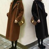 毛呢大衣韓版呢子大衣女中長款過膝學生冬季加厚焦糖黑色毛呢外套「輕時光」