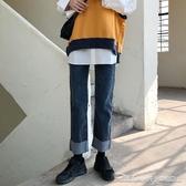 韓風今年大熱版型BEST校園派少女 復古小直筒捲邊牛仔褲 阿卡娜