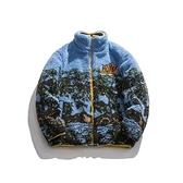 羊羔毛外套-短版寬鬆立領休閒保暖男夾克73zj6[巴黎精品]