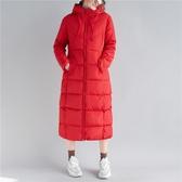 過膝連帽棉服女冬季新款文藝簡約純色中長款加厚夾棉長袖拉鏈開衫