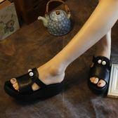 漫步生活☆[SH-7143] 輕文藝。晶鑽珠真皮厚底涼拖鞋