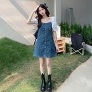 牛仔洋裝 胖mm大碼女裝夏季復古方領泡泡袖收腰顯瘦氣質短袖牛仔裙連身裙潮 寶貝 618狂歡