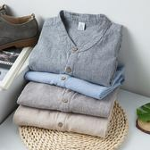棉麻上衣男 復古條紋立領長袖襯衫(4色 S-3XL)