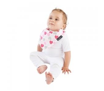 紐西蘭 Mum 2 Mum 雙面時尚造型口水巾圍兜-愛心/粉紅 吃飯衣 口水衣 防水衣