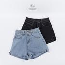 配色車線雙釦高腰牛仔短褲M-XL號-BA...