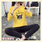 【GZ2C1】長袖T恤 貓頭印花圓領上衣 秋冬季新款加絨加厚寬鬆衛衣