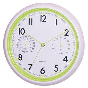 【HANDLE TIME】多彩白框溫濕度計靜音掛鐘-綠