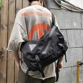 大容量斜背包男女街頭嘻哈肩背包工裝包書包【聚寶屋】