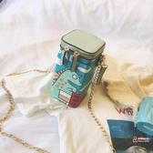 水桶包 卡通鍊條斜背小包女2019夏季韓版百搭可愛恐龍搞怪鍊條水桶包 4色