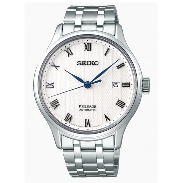 [萬年鐘錶]  PRESAGE 精工4R35 機械 男錶 日期 白錶面 銀殼 銀鋼帶  4R35-02S0S (SRPC79J1 )