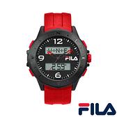 【FILA 斐樂】帥氣指針電子錶-亮眼紅/38-150-004/台灣總代理公司貨享兩年保固
