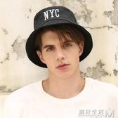 漁夫帽男夏季韓版時尚潮牌男士青年學生百搭黑色棉個性潮人嘻哈帽 遇見生活