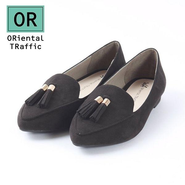 【ORiental TRaffic】經典流蘇尖楦樂福鞋-經典黑
