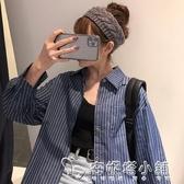 新款春季藍色條紋牛仔襯衫女韓版寬鬆學生長袖襯衣外套防曬衣 安妮塔小鋪