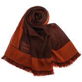 ARMANI Collezioni時尚雙色流蘇薄圍巾(咖啡紅)102806-2