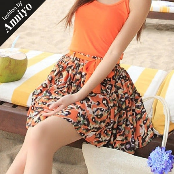 Anniyo安妞‧波希米亞海邊度假鑽石麻沙灘裙半身裙短裙 豹紋橘