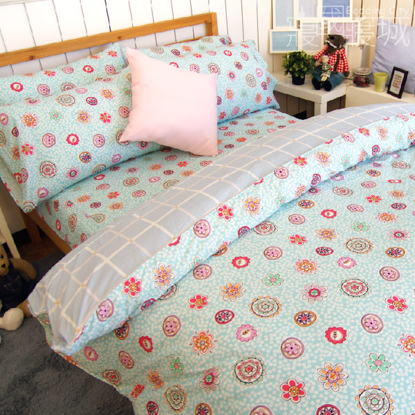 雙人床包+兩用被4件組-【花樣格紋】100%精梳純棉 #大鐘印染 #台灣製造