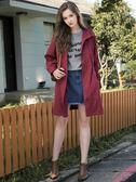 秋冬新品[H2O]連帽附可拆式內膽腰圍可調節中長版外套 - 紅/綠色 #8663007