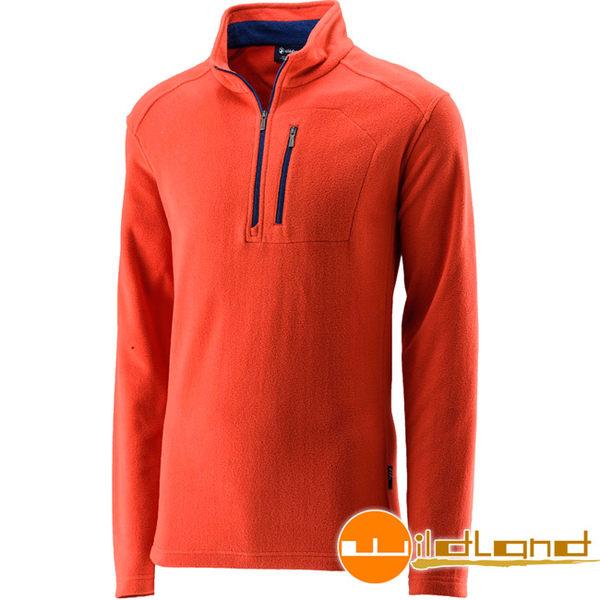 Wildland 荒野 0A22506-13橘紅色 男遠紅外線PILE保暖上衣