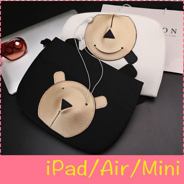【萌萌噠】iPad234 Mini1/2/3/4 Air1/2   韓國新款 立體口袋熊保護殼 耳機收納 智慧休眠 電腦平板套