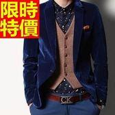韓版 西裝外套 男西服 明星同款復古-創意金絲絨奢華大方65b35[巴黎精品]