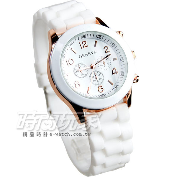 GENEVA 馬卡龍色系 繽紛彩色錶 造型三眼錶 白x玫瑰金 大圓錶 女錶 中性錶 數字錶 學生錶 GE白大
