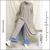 洋裝  森林系立領絨布暗格棉麻洋裝.罩衫   二色-小C館日系