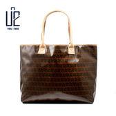 簡約緹花布防水手提包/單肩包/托特包/購物包/MIT/台灣製【U2 Bags】A1525