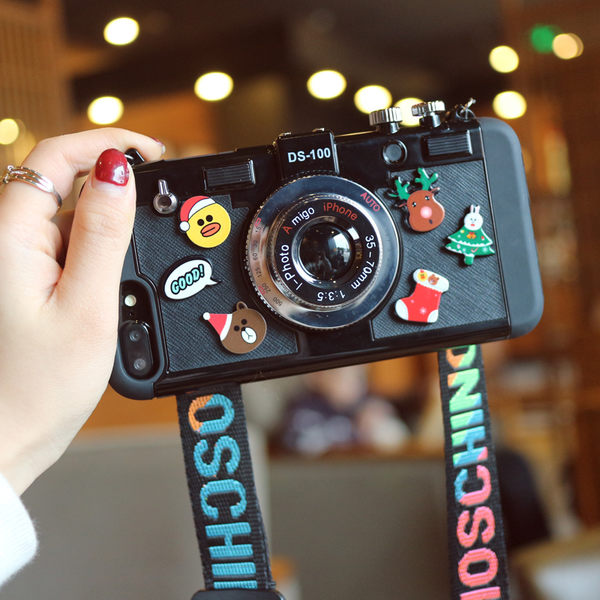 iPhone X 相機卡通造形手機殼 保護殼 軟殼 硬殼 廣角 自拍 照片手機殼 熊 小鴨 蘋果 可愛 掛繩