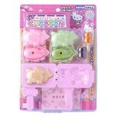 〔小禮堂〕Hello Kitty 鯛魚燒烤盤玩具組《粉綠.泡殼裝》兒童玩具.扮家家酒 4902923-14793