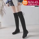 現貨長靴-柔軟羊皮綁帶過膝靴(36-43加大碼)