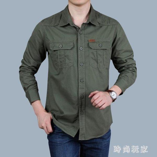 加絨襯衫長袖中年純棉休閒工裝襯衣男士寬鬆大碼寸衫zzy5549『時尚玩家』