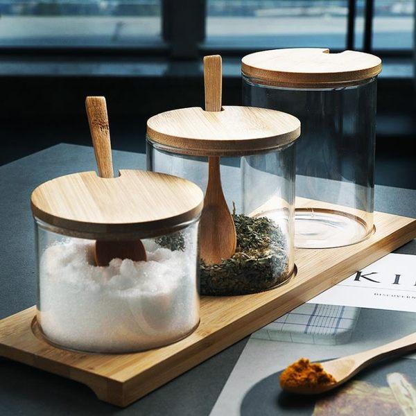 糖罐子 半房雜貨 歐式透明玻璃竹木蓋調料罐套裝簡約調味料盒糖鹽瓶罐子 MKS99一件免運
