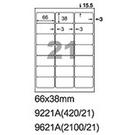 阿波羅 9221A A4 雷射噴墨影印自黏標籤貼紙 21格 切圓角 66x38mm 20大張入