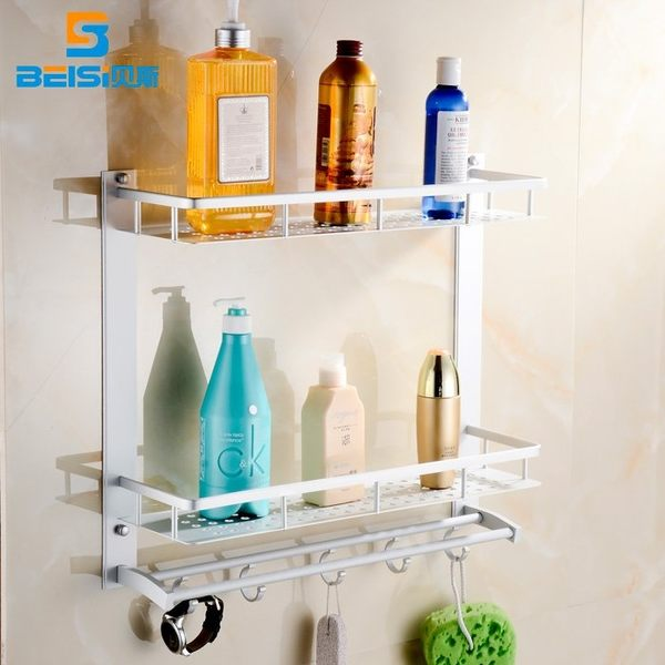 小熊居家新品太空鋁置物架衛生間3層置物架浴室壁掛層架衛浴掛件特價