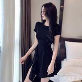 短袖荷葉邊魚尾洋裝連身裙 心機小黑裙短款2019新款夏氣質收腰顯瘦 BT10505【大尺碼女王】