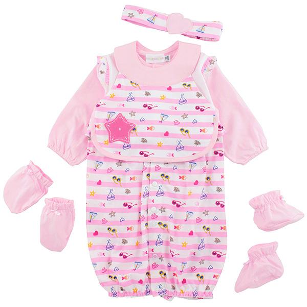 【愛的世界】橫紋圍兜兩用嬰衣禮盒/3M~1歲-台灣製-  ---禮盒推薦
