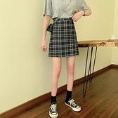 2021夏季新款韓版格子半身裙a字裙復古高腰顯瘦chic包臀裙短裙女 貝芙莉