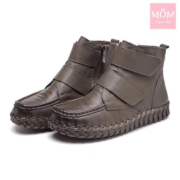 全真皮自然摔紋手工縫線魔鬼粘設計舒適短靴 卡其 *MOM*