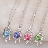 925純銀項鍊 水晶墜飾-繽紛迷人生日母親節禮物女飾品8色73aj310【巴黎精品】