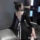 心機宮廷赫本風小黑裙2020新款法式少女后背v領綁帶性感洋裝潮連衣裙