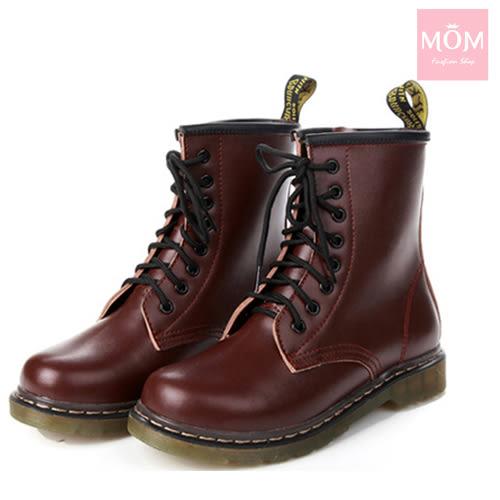 歐美經典款8孔綁帶真皮馬丁靴 短靴 工程靴 酒紅 *MOM*