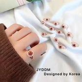(超夯免運)正韓東大門進口1990跳動的心女鋯石轉運愛心水晶戒指開口調節指環