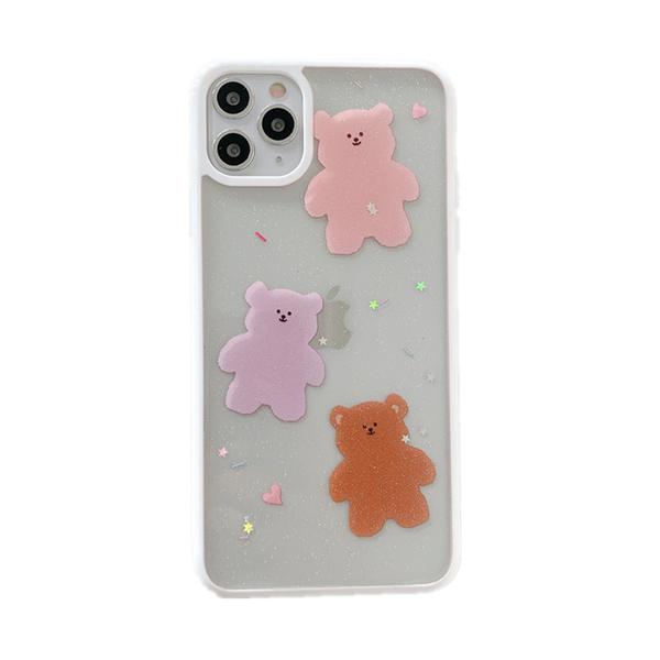 三隻小熊 可愛 熊熊 白邊框 閃粉滴膠 iPhone 11 蘋果手機殼 全包邊軟殼 防摔殼
